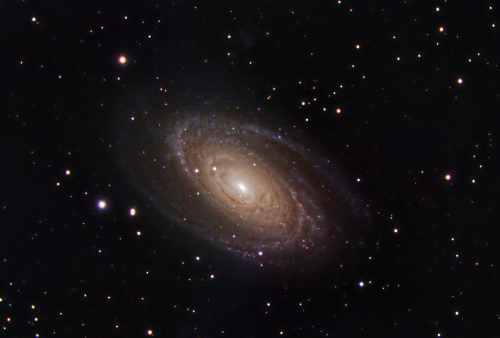 Messier 81 is a spiral galaxy about 12 million light-years away, with at diameter of 90,000 light years, about half the size of the Milky Way, in the constellation Ursa Major. Due to its proximity to Earth, large size, and active galactic nucleus, Messier 81 has been studied extensively by professional astronomers